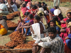 Locals gathering at the Dongariya weekly tribal market