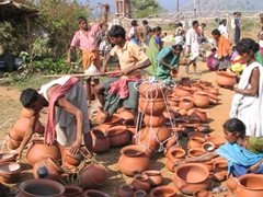 Plenty of clay pottery for sale at the Dongariya Tribal Market