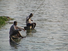 Local fisherman at the Bindu Sagar Lake