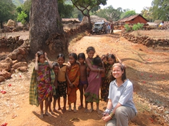 A parting snapshot; Becky with Gadhabas children