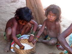 Dhuruba tribal children helping out their grandma