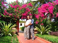 Becky and Robby enjoying Puri's Mayfair Beach hotel