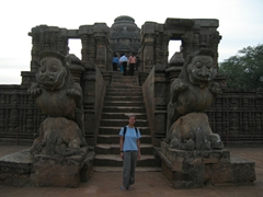 Becky is dwarfed by the entrance to Konark's Sun Temple