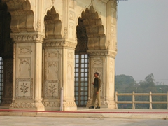 An armed guard pulls his shift at the Red Fort in Delhi