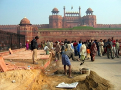 Workers toiling away just outside the Red Fort in Delhi