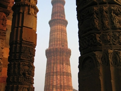 The Qutub Minar in Delhi is the tallest minaret in India at 230 feet. It was constructed with red and black sandstone and marble, and is a UNESCO world heritage site