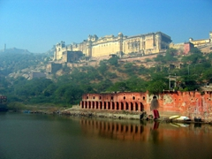 View of Jaipur's gorgeous Amber Palace as seen from Maota Lake