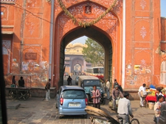 One of the 7 gates of the Jaipur city wall encircling the old city, built in 1727 and still functional today