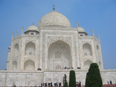 Picture perfect Taj Mahal, a stunning white marble mausoleum built by a Mughal Emperor named Shah Jahan in memory of his third (and favorite) wife; Agra