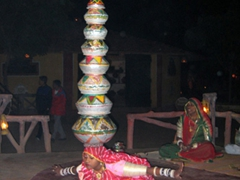 This dancer performs a delicate balancing trick for us at the Jaipur Cultural Village