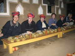 Our group devours a dinner feast at the Jaipur Cultural Village