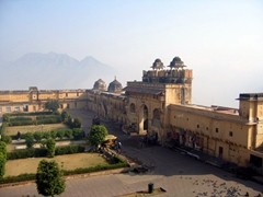 View of the perimeter walls of the Amber Palace in Jaipur