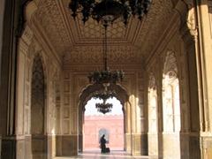 Magnificent archways of Lahore's massive Badshahi Mosque
