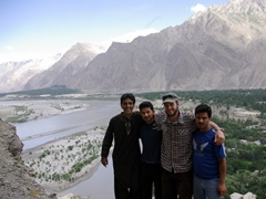 Zia, Hasan, Robby and Anwar take a break on our short hike up to Kharphocho Fort