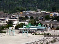 Bird's eye view of a large mosque in Skardu, as seen from Karpochu Fort