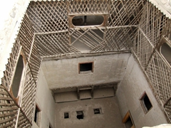 """A look down into the small """"courtyard"""" of Khaplu Fort"""
