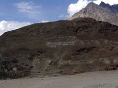 """We have to strain to read the message but it says """"Welcome to Shigar, The Valley of Mighty K2"""""""