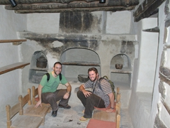 Steve (an Aussie backpacker we met) and Robby take a break in the old kitchen; Shigar Fort