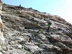 """Climbing up above Shigar Fort was a bit of a scary experience...check out the """"path"""""""