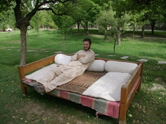 The next morning, we relax in the Shigar Fort's garden, waiting on Zia to show up