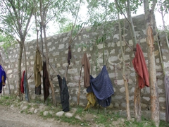 Afterwards, everyone hangs out the laundry to dry (the hotsprings serve as a bath and laundry facility!)