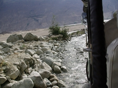 We had to traverse several raging rivers to get to the remote Choutron springs...thank goodness we had a jeep!
