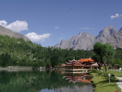 The Shangri-La tourist resort has a Chinese feel to it. It was founded by Brigadier General M. Aslam Khan after he retired from the military