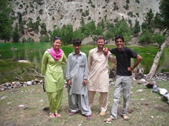Becky, Jan, Robby and Zia at Naltar Lake