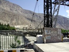 View of the bridge spanning the Gilgit River
