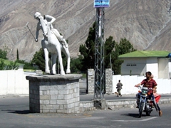 Polo is big business in Gilgit as evidenced by this polo player statue