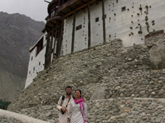 Posing outside the Potala Palace inspired Baltit Fort; Karimabad