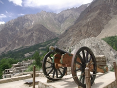 An old cannon sits atop Baltit Fort