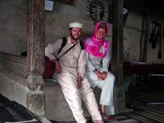Dressed up in traditional Hunza garb; Baltit Fort