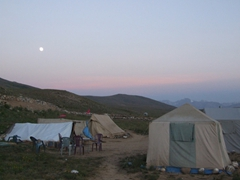 Our campground at dusk; Deosai National Park