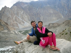 Zia takes a photo of us sitting on the edge overlooking the Passu glacier below