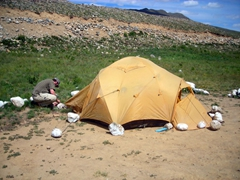 After we decide to camp here for the night, it took us no time at all to erect our tent; Deosai National Park