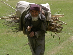 Old men in Pakistan are tough! This one carries a bundle of twigs and isn't even sweating