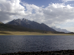 At 3,800 meters, the Shandur festival is held at the world's highest polo field. Here is a view of the nearby lake