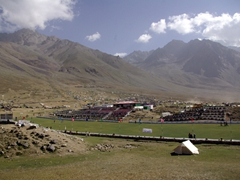 View from the Shandur Lake looking towards the polo field