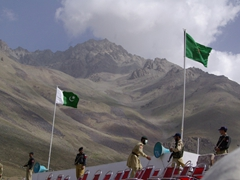 Pakistan's flag waves proudly over the VIP seating area
