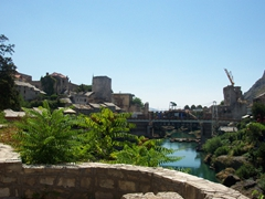 View of Mostar's old bridge (still under renovation)