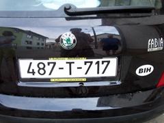 Bosnia license plate