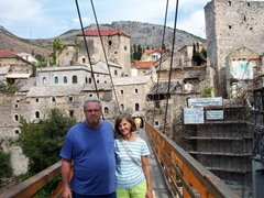 Bill & Laverne crossing the old bridge, Mostar