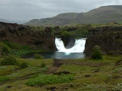 Unique double waterfall of Hjálparfoss