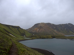 Lake near Landmannalaugar. This is a popular place for fishermen to try their hand at catching arctic char