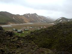 View of the campsite at Landmannalaugar