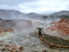 Robby strikes a pose in the lava fields near Landmannalaugar