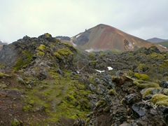 Even though its a dreary overcast day, the colorful rhyolite hues of Landmannalaugar can still be seen