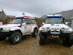 Emergency vehicles at the ready back at Landmannalaugar camp