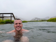 Robby soaking in the hot spring of Landmannalaugar
